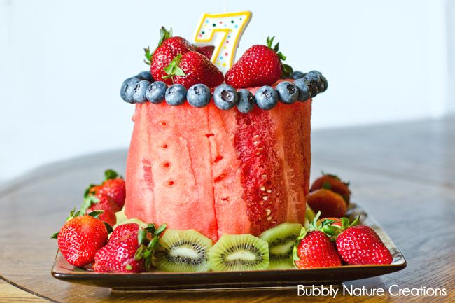 Fruit Birthday Cake!!! Use Only Fruit for a healthy birthday treat!