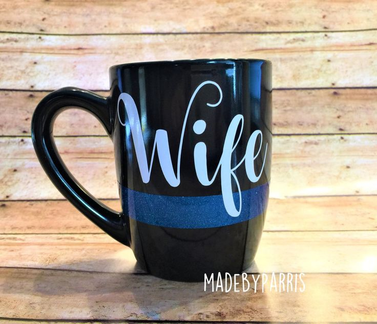 Police Wife Ceramic Coffee Mug, Police Wife, Coffee Cup, Wife Coffee Cup, Gift Idea, Police Officer, Law Enforcement, Thin Blue Line, Mug by MadeByParris on Etsy