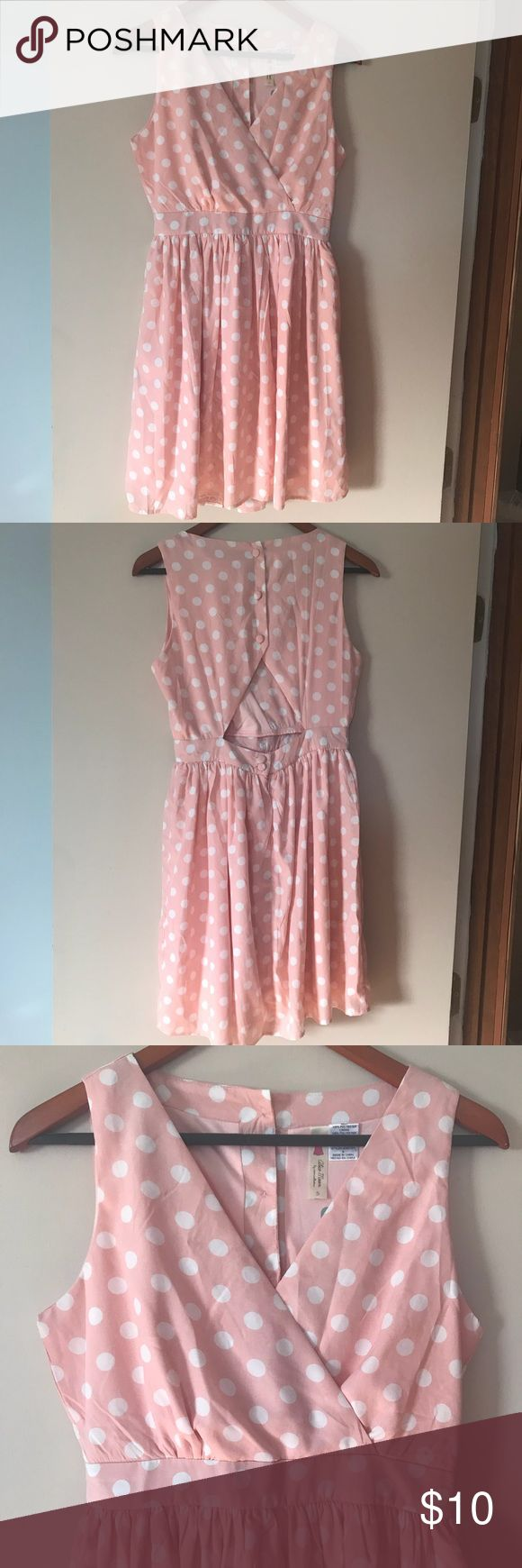NWT Polka Dot Dress NWT never worn super cute light pink dress with white polka dots! Size small & fits true to size. Cute button detail in the back! Buttons do unbutton so you can put it on comfortably. From The Mint Julep Boutique. No stains or holes. From a nonsmoking home. Mint Julep Boutique Dresses