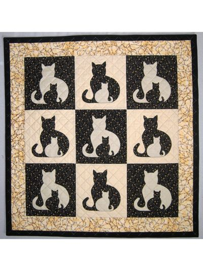 "Full sized cat applique templates are provided and well as clear, concise instructions for making 5 different sized quilts.  Pattern includes instructions for:  Pillow Cover, 18"" square (1 block)  Wall Hanging, 20"" x 21"" (1 block)  Bab..."