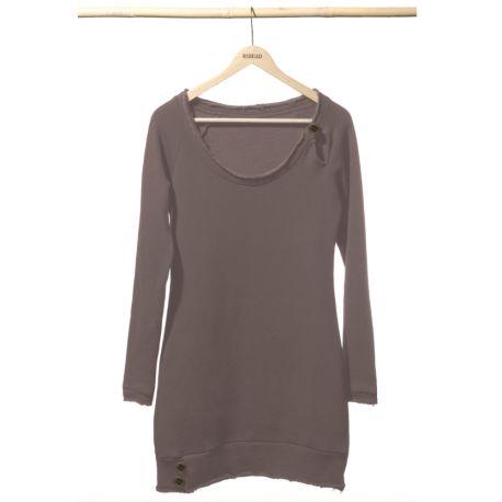 Vestito Felpa Donna Basic by Re-Bello. Colore: Iron. In caso di indecisioni sulla taglia consigliamo di scegliere quella più grande. Composizione: Fleece 320g, 100% Cotone Organico. Certificazioni: GOTS, OEKO TEX