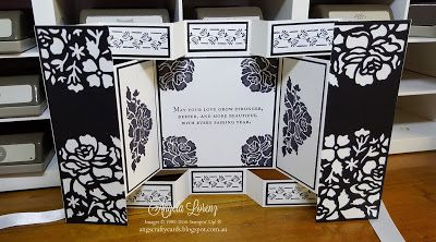 handmade card by Angela Lorenz: Floral Phrases & Detailed Floral Thinlits ... elegant black and white ... big project fancy fold card ... art deco styling ... fab card!! ... Stampin' Up!