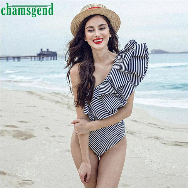 CHAMSGEND Drop Shipping 2017 New Fashion Sexy Women Large Lotus Leaf Collar Striped Sleeveless Ladies Bodysuit Jumpsuit JUN29