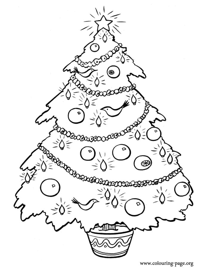 how about coloring this christmas tree decorated with beautiful ornaments christmas balls and flashing lights