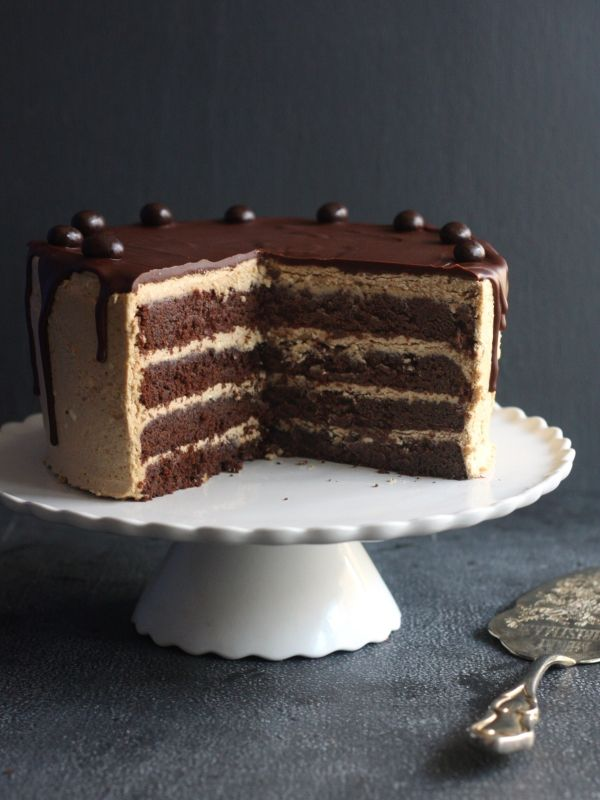 CHOCOLATE COFFEE LAYER CAKE Chocolate cake and coffee buttercream come together in this cake worthy of any celebration. Topped with dark chocolate ganache, it's a guaranteed show-stopper.