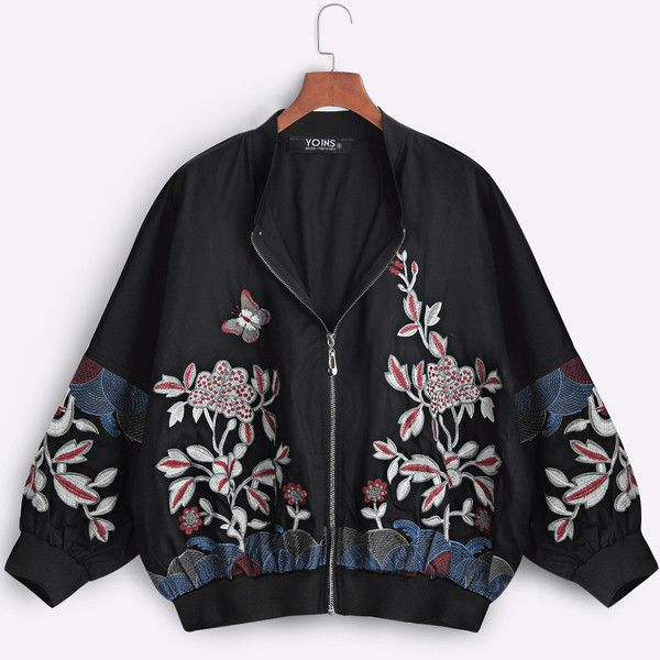 Yoins Black Fashion Bomber Jacket With Floral Embroidery (£29) ❤ liked on Polyvore featuring outerwear, jackets, black, blouson jacket, patterned bomber jacket, embroidered bomber jacket, pattern jacket and zip front jacket