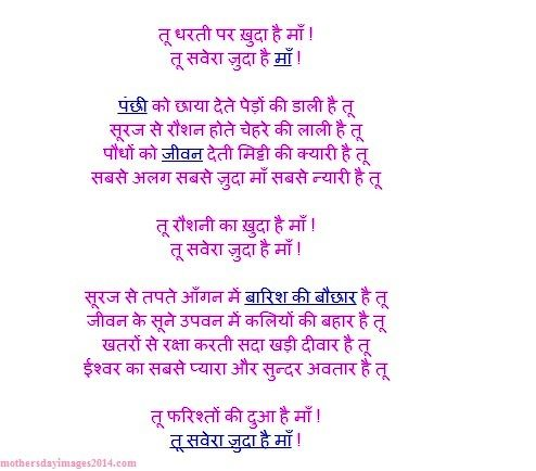5 sentences about mother in hindi