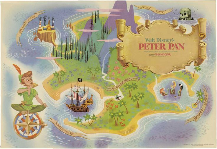 Map of Neverland painted by  Eyvind Earle for... - The Disney Elite