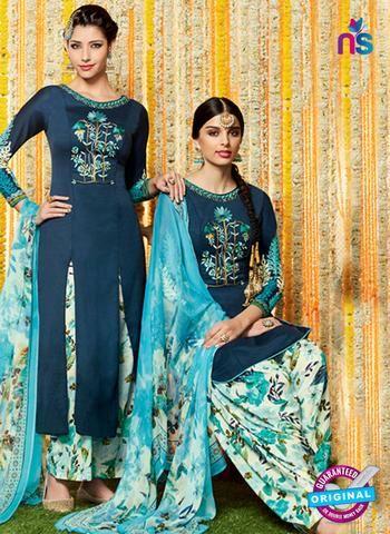 Heer 6614 Dark Blue Cotton Satin Patiala Suit