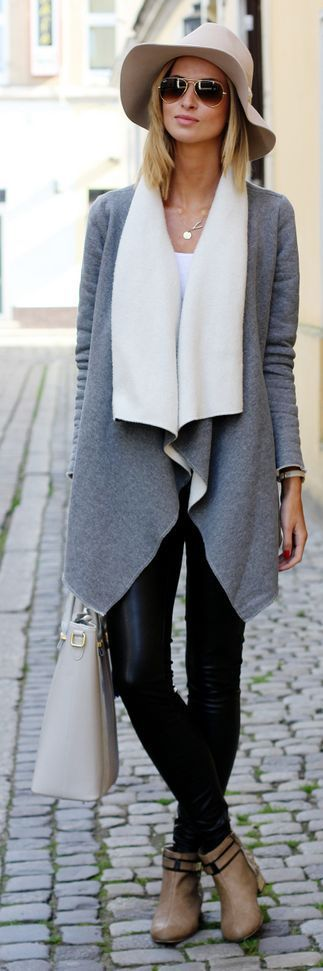 Grey And White Knitted Cardigan with Black Leather Skinnies.