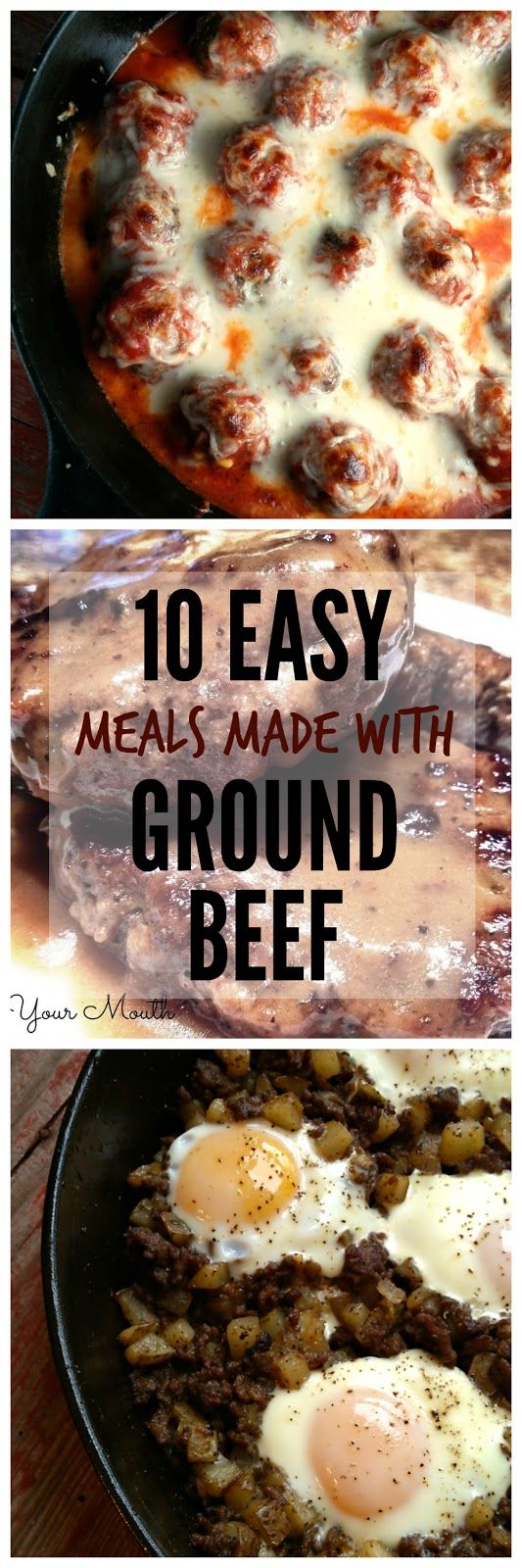 10 Easy Meals Made with Ground Beef like baked meatballs, hamburger steaks, salisbury steak tips, cabbage roll skillet, sliders and more!