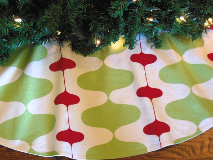 "Mid Century Modern Christmas Tree Skirt, Retro Mod Tree Skirt, Contemporary Tree Skirt, Red and Green Christmas Decor, 48"" Xmas Tree Skirt by KaysGeneralStore on Etsy https://www.etsy.com/listing/208155514/mid-century-modern-christmas-tree-skirt"