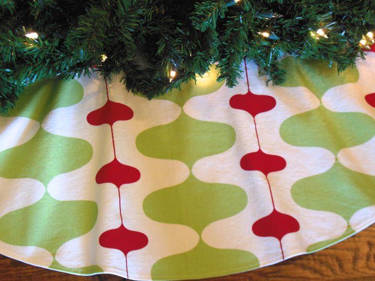"Mid Century Modern Christmas Tree Skirt, Retro Mod Tree Skirt, Contemporary Tree Skirt, Red and Green Christmas Decor, 48"" Xmas Tree Skirt by KaysGeneralStore on Etsy https://www.etsy.com/listing/208155514/mid-century-modern-christmas-tree-skirt"