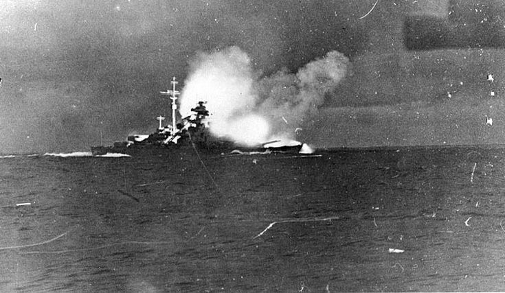 Bismarck firing on Hood and Prince of Wales, Battle of Denmark Strait, 24 May 1941, photo 2 of 8; photographed from Prinz Eugen