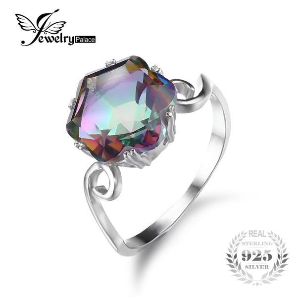 FuzWeb:JewelryPalace 3.2ct Genuine Rainbow Fire Mystic Topaz Ring Solid 925 Sterling Silver Jewelry Best Gift For Women Fine Jewelry