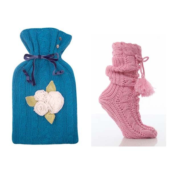 Get Well Gifts - Cold Comforts - Cosy up with this gorgeous knitted hot water bottle and slipper socks - pjsandprose.com
