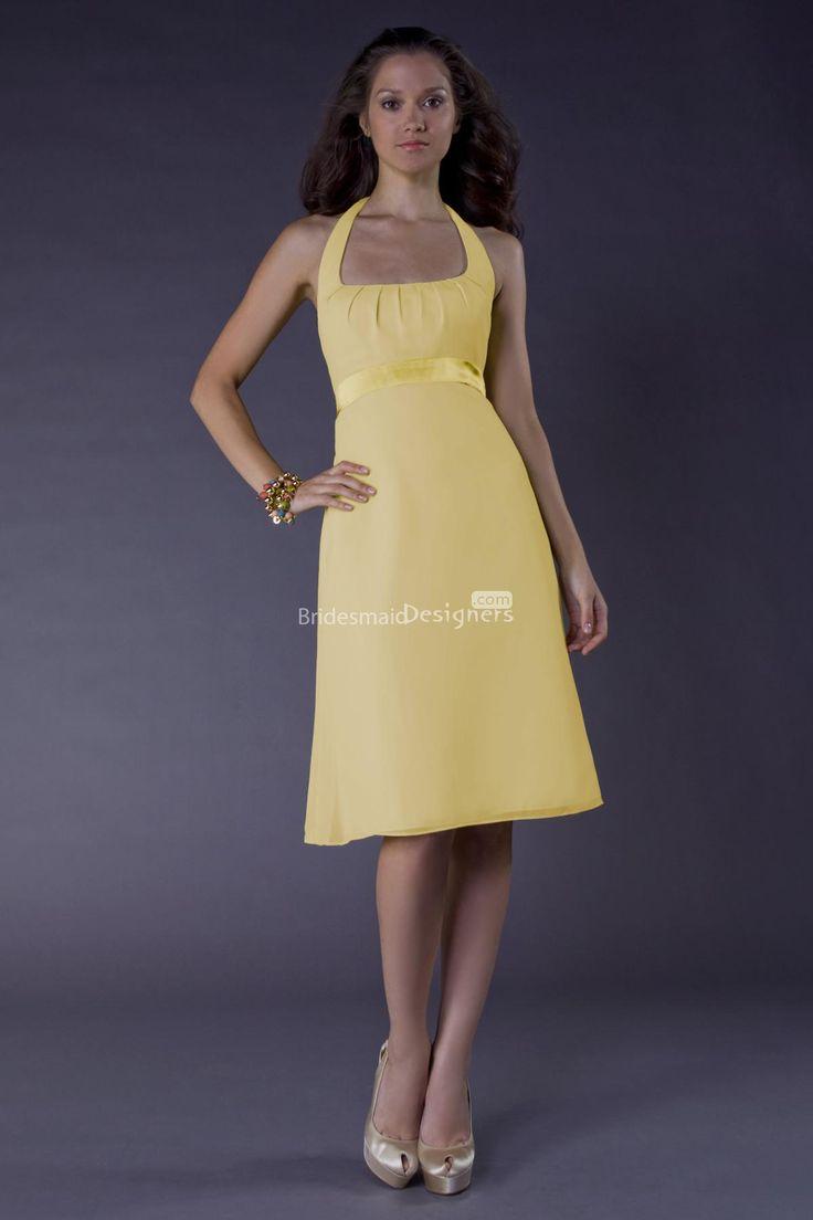 knee length yellow chiffon bridesmaid dress us