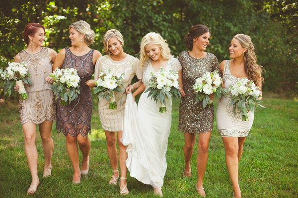 mix and match sparkly sequin bridesmaids dresses in shades of grey | North Carolina Wedding Sourced from Antique Shops: