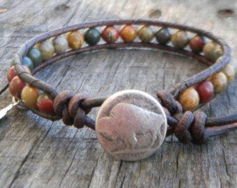 Indianischer Schmuck  Herren Armband Leder  Perlen Armband