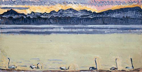 白鳥のいるレマン湖とモンブラン
