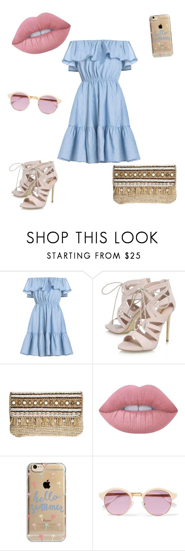 """""""Summery Blue Dress"""" by wanderherz ❤ liked on Polyvore featuring Carvela, Skemo, Lime Crime, Agent 18 and Sheriff&Cherry"""