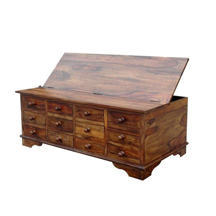 Large Wooden Storage Chest - Sheesham Cube Design -12 Drawers - Coffee Table in Home, Furniture & DIY, Furniture, Tables | eBay