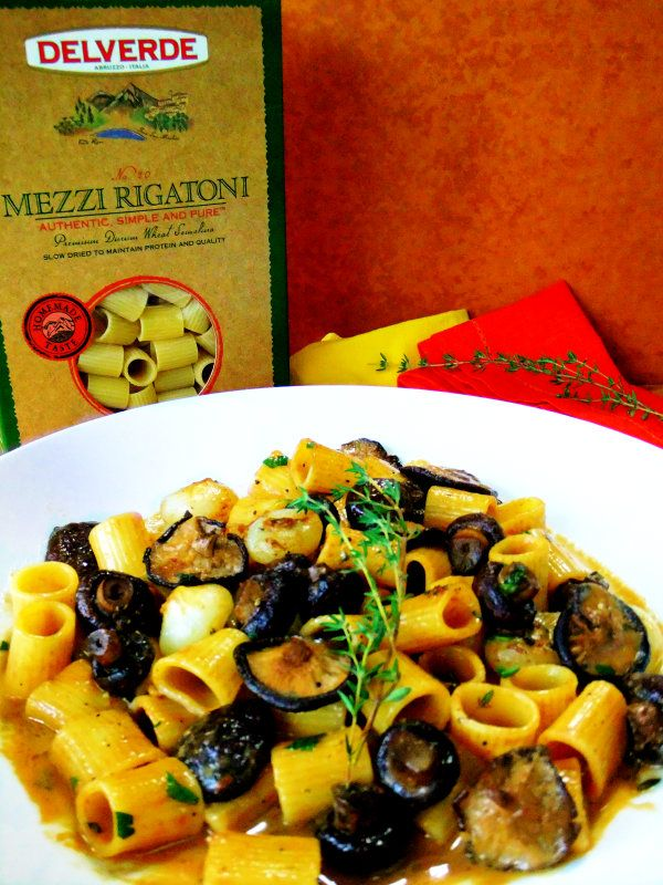 ~ mushroom Marsala with cipollini mushrooms and thyme ~ 8 cipollini ~ 1 3/4 cup Marsala wine ~ 1/4 mascarpone cheese ~ 1 minced clove of garlic ~ 1 T butter ~ fresh thyme ~ fresh parsley ~ 1/2 lb. cooked Delverde Mezzi Rigatoni ~ from the Proud Italian Cook ~ LOVE her food ~