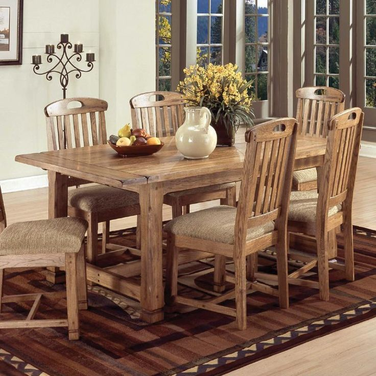 7 Pc Sedona Collection Rustic Oak Finish With Distressed Dining Table Set