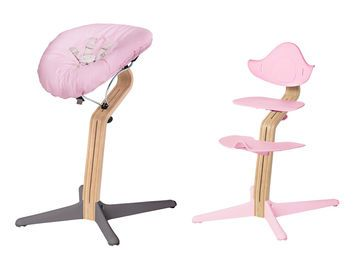 Invest in the infant seat (left) to use the Nomi High Chair from day one. It transitions into a high chair for use at the table (not shown) and then a high-backed kid seat (right). High chair, $299; infant seat, $169.