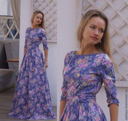 Платье в пол Лаванда / длинное платье - в цветы красивое платье,платье на каждый день