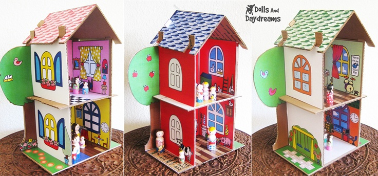 cardboard play house  Eco Friendly PDF Dollhouse Pattern Recycle Cardboard Boxes  by Sarah Hanson  Materials    Use the pattern and turn any cardboard box into a dollhouse for each of your children to customize themselves.  Instructions    Cut out the cardboard using the PDF pattern printout. The Eco friendly dollhouse easily slots together, no need for messy tape or glue. It's stronger than you think, and will withstand some pretty rough play! Once your house is assembled, the decorating is…