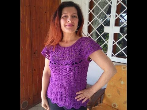"Maglia traforata all'uncinetto ""Chiara"" - crochet Woman shirt- camisa mujer a ganchillo - YouTube"