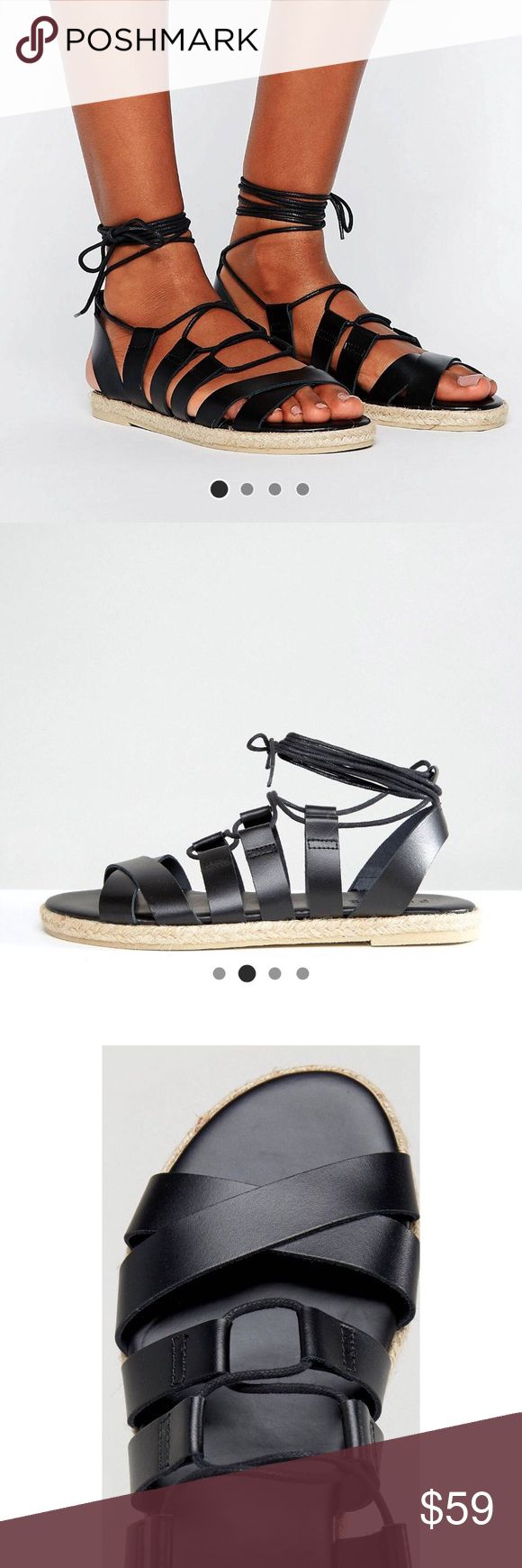 PIECES  •  Louisa leather Espadrille Sandals Brand new in box. True to size. Branded as UO for exposure only (!). Purchased from ASOS website. Leather upper, ankle-tie fastening, woven sole. No returns. Open to offers. Urban Outfitters Shoes Espadrilles