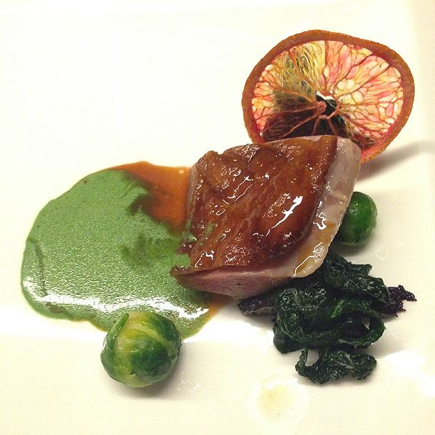 Sous vide duck breast with beetroot, Brussels sprouts and calve nero.