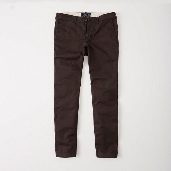 Abercrombie & Fitch Slim Chinos ($34) ❤ liked on Polyvore featuring men's fashion, men's clothing, men's pants, men's casual pants, dark burgundy, mens skinny fit dress pants, mens skinny chino pants, mens slim pants, mens skinny pants and mens slim fit chino pants