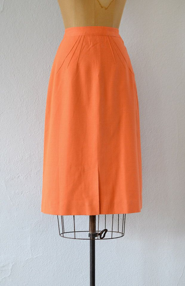vintage 1950s coral a-line pencil skirt
