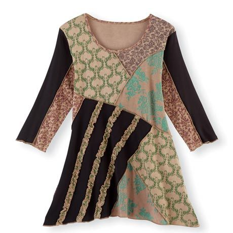 Lulu Tunic Top, Patchwork - Women's with Asymmetrical Hem