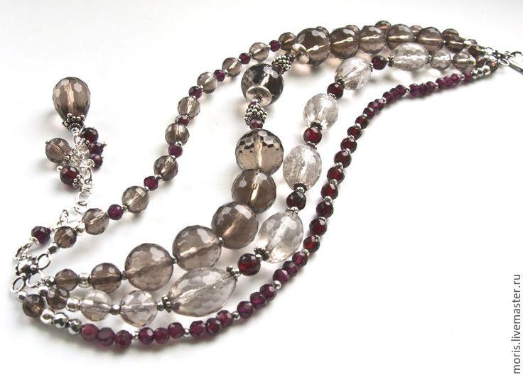 """Купить Гранатовый браслет из серебра """"Реагхан"""" топазы ... - браслет с раухтопазом, многорядный браслет, браслет из серебра"""