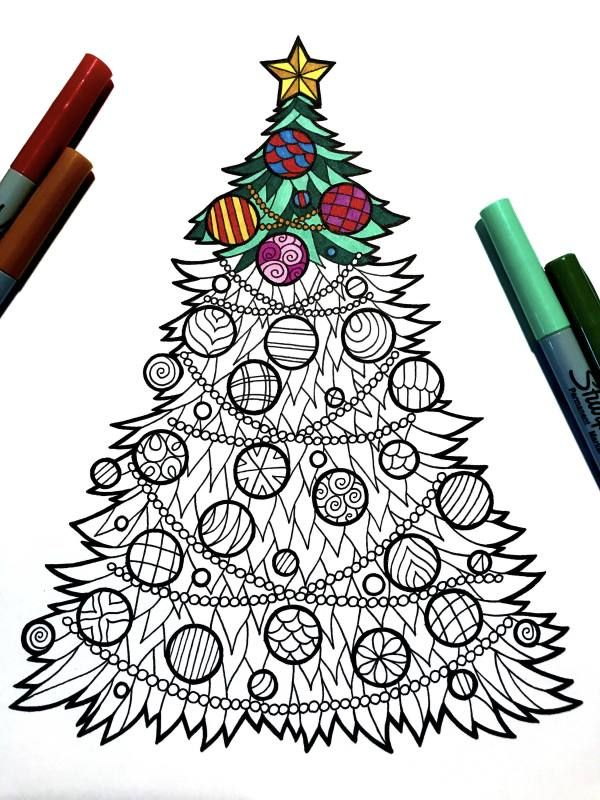 Christmas Zentangles 15 Printable Coloring Pages For The Holidays Christmas Tree Drawing Tree Drawings Pencil Christmas Tree Coloring Page
