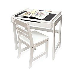 Lipper Childs Desk with Chalkboard Top and Chair Set, White Finish