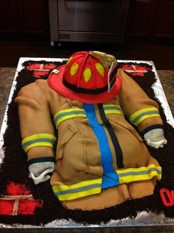Firefighter Turnout Jacket & Helmet Cake | Shared by LION @Carolyn Rafaelian Rafaelian Rafaelian Rafaelian Barks  This one is neat too Carolyn!