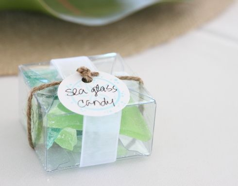 Lynnetta could make this...Sea glass candy wedding favors! Perfect!  (packaging…