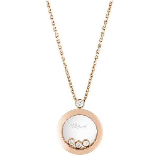 Chopard Happy Diamond & 18K Rose Gold Round Pendant Necklace (£3,280) ❤ liked on Polyvore featuring jewelry, necklaces, rose gold, rose gold pendant necklace, chopard necklace, pink gold necklace, 18k diamond necklace and diamond jewelry