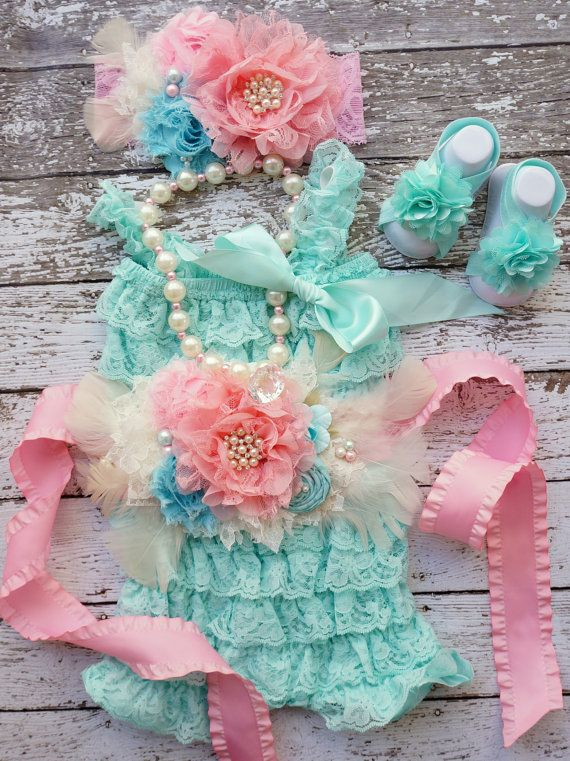 Lace Romper Set,Easter Outfit~Petti Romper Set,Newborn Romper~Toddler Outfit~Cake Smash~1st Birthday Outfit~Photo Prop~Girls Pearl Necklace