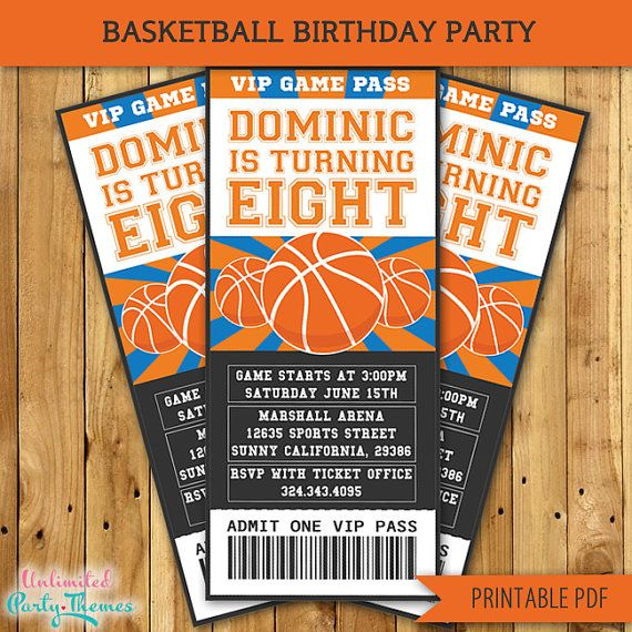 25 Best Ideas About Basketball Decorations On Pinterest: PRINTABLE Basketball Birthday Party Invitations