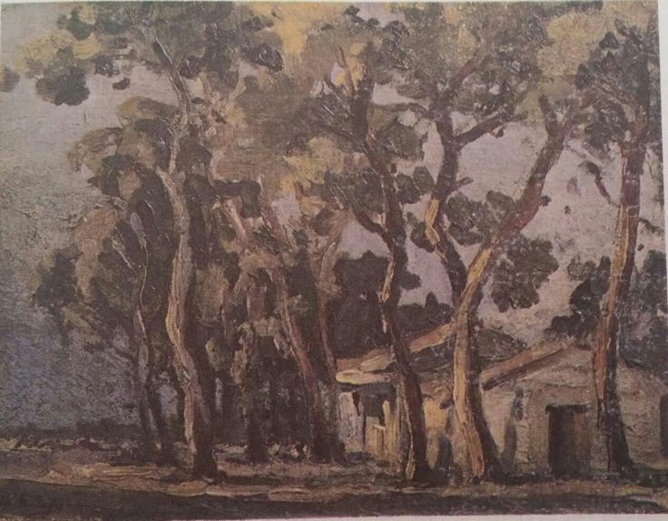 Mehmet Ali Laga: Ağaçlar. Tuval uzerine yagliboya. 45×60 cm. Ozel koleksiyon