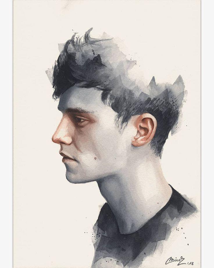 (@miro_z_art)   Small watercolor painting   #portrait #face #watercolor #painting #paint #art #artwork #fineart…