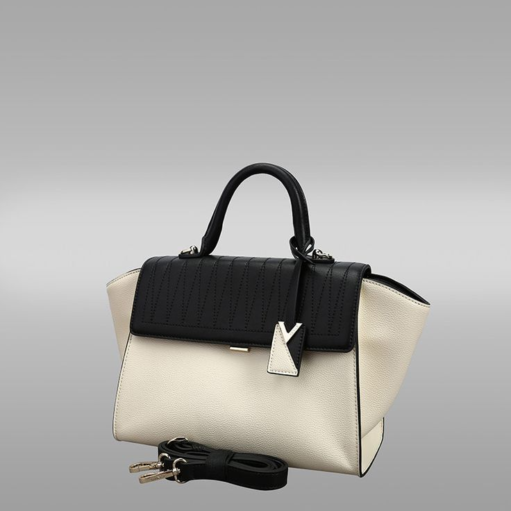 White and Black Colour Cross-Sectional Leather Handbag