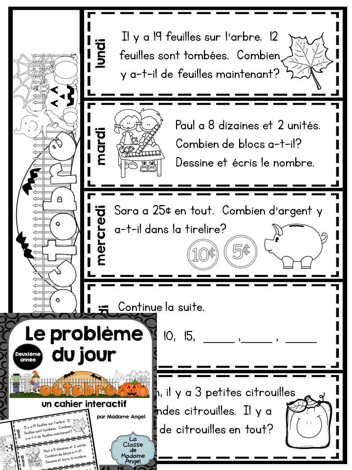 Le problème du jour pour la deuxième année! Second Grade Math Problem of the Day activities in French! Interactive flip book style. $