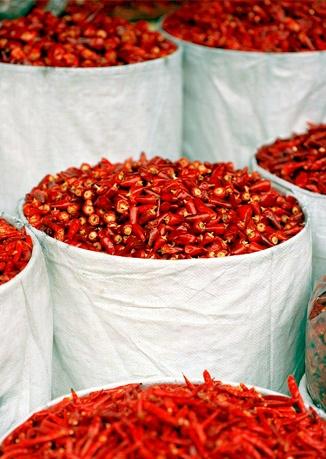 Dried chiles at Wu Kuai Shi market.